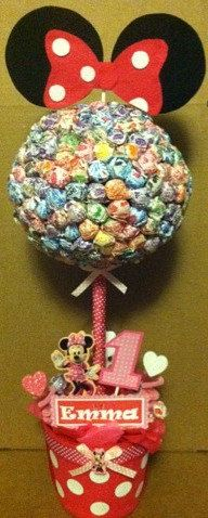 Minnie Mouse Lollipop Tree (custom made)  Party Candy Buffet,Station,Centerpiece or gift. $67.00, via Etsy.