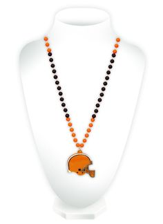 Cleveland Browns Mardi Gras Beads with Medallion