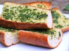 Chimichurri sauce is made with lots of garlic and herbs, and makes an easy topping for quick garlic bread.