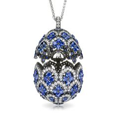 ZénaÏde Sapphire Egg Pendant Fine Jewellery Egg Pendants One of a series of three exceptional Fabergé egg locket pendants, designed in the graphic style of traditional Uzbek textiles, and named for the Princess ZénaÏde Yusupov, a favourite of the Imperial family and the mother of Prince Felix, handsome, charming adventurer and heir to the Yusupov fortune.