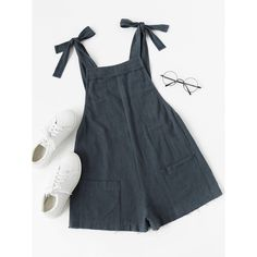 Navy Plain Sleeveless Cotton Strap School Fabric has no stretch Spring Summer Loose Pockets Raw Hem Jumpsuits, XS, S, M, L Style: School Decoration: Pockets, R…