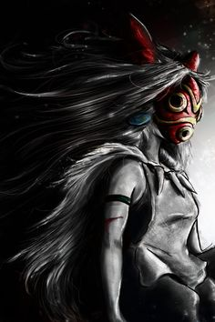 Mononoke Hime - San Digital Painting Color Pop by ~studiomuku on deviantART