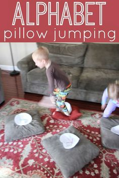 Toddler Approved!: Alphabet Pillow Jumping for toddlers and preschoolers. Large motor indoors!