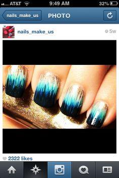 Nails gold white aqua n black