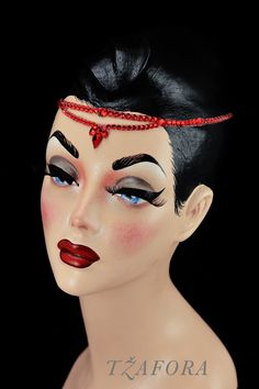 """Pamina"" (Light Siam) - Dancesport accessories. Ballroom hair accessory and ballroom jewelry made with Swarovski, available at www.tzafora.com © 2016 Tzafora. Handmade in Canada."