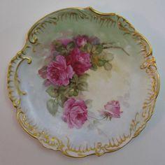 Antique D & C Limoges France Porcelain Plate with Roses  #Limoges