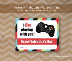 Free Printable Video Game Valentines by Amy Locurto at LivingLocurto.com #Valentine