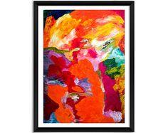 Rosso stampa artistica, stampa contemporanea di arancia rossa, stampa astratta moderna stampa astratta rosso, stampa giclée astratto, astratto opera d'arte
