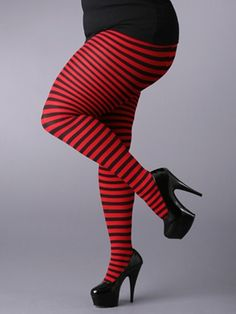 Plus/Queen size socks and stockings. Knee-high, OTK, thigh-high or full. Interesting prints or solid, dark colours. Example: Opaque Striped Tights, $8.95