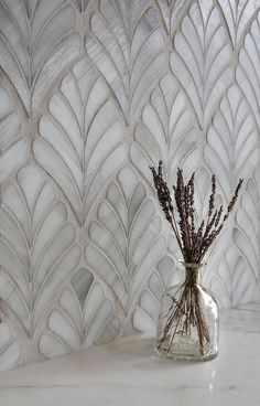 Margot, a glass waterjet mosaic, shown in Alabaster jewel glass New Ravenna, First Home, Tile Design, Mosaic Glass, Mosaic Tiles, Cheap Home Decor, Home Remodeling, Home Kitchens, Room Decor