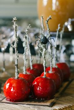 Candy apples: http://www.stylemepretty.com/living/2013/10/25/halloween-party-from-waiting-on-martha/ | Photography: Rustic White - http://www.rusticwhite.com/