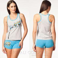 KEFALI Hausanzug Damen Pyjama Set Schlafanzug Baumwolle Shorty T-Shirt 36 38 NEU