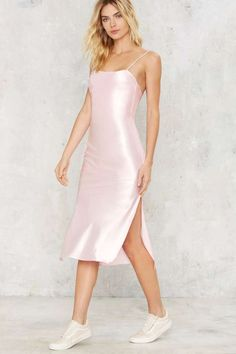 Dyspnea Gold Digger Pom Pom Slip Dress - Pink - Clothes | Going Out | Midi + Maxi | Party Clothes | All Party