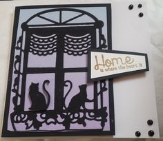 """Good luck in your new home -Cat's in window 6"""" square card using Tonic Studios die"""