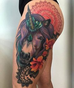 one big and colorful horse tattoo!