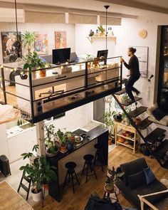 Dream House Loft Tiny Homes Tiny Living, Home And Living, Living Room, Dream Apartment, Loft Apartment Decorating, Loft Decorating, Studio Apartment Design, Flea Market Decorating, Apartment Goals