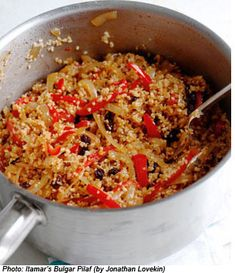 Vegetarian Bulgur Pilaf recipe, from Plenty by Yotam Ottolenghi, a cookbook filled with vegetarian food that's not trying to be like meat. These dishes could be eaten on their own or as an accompaniment to a piece of fish or meat--they're all packed with spices and fresh flavors. Yummy!