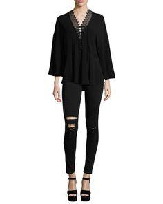 -6A22 IRO Emilda Knit Lace-Front Top, Black Irma Distressed Skinny Denim Jeans, Black
