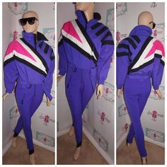 "Up for sale is this lovely Vintage Tyrolia Purple/Neon Pink White Ski Jumpsuit Size S Flaws: none noticeable Material: nylon Shoulder Pads: yes Pit to Pit: ""20 Sleeve: "" 18 Overall Length: "" 60 PLEASE READ Below Tag size on vintage clothing doesnt match current clothing sizes. Please compare the actual garment measurements below to your own clothing (not your body) to determine fit. Measurements have been taken with the garment lying flat. They have not been doubled. The tag inside the…"