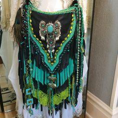 Large Black Leather/Turquoise Suede Hand Made Hippie Gypsy Boho Cross Body Bag Hippie Man, Hippie Purse, Boho Hippie, Boho Chic, Boho Style, Shabby Chic, Fringe Bags, Boho Bags, Vintage Lace