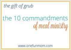 The 10 Commandments of Meal Ministry