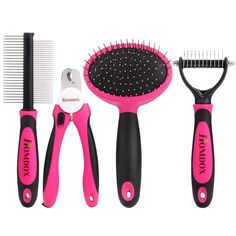 Homdox 4 Pieces Professional Dog Grooming Kit Nail Clipper, Slicker Brush, Double Sided Comb, Open Knot Comb Suit for Middle/Large Dogs Home Grooming Set ** Review more details here : Cat Grooming