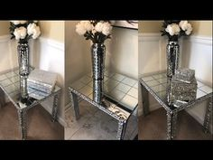 Mirrored furniture can be very expensive. In this video, I show you how I made a beautiful mirrored end table using item. Decorating End Tables, Diy End Tables, Diy Table, Decorating Ideas, Craft Ideas, Dollar Tree Mirrors, Dollar Tree Decor, Diy Mirrored Furniture, Painting Furniture