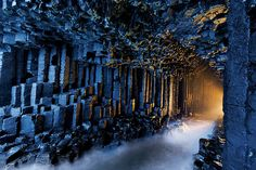 Fingal's Cave, Inner Hebrides islands..  According to folklore, built by giants as dwellings and causeways across the land.