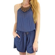 Cute and Comfy Navy Blue Romper A super cute romper that is perfect for spring weather around the corner! Super soft and strong material. Available in Small, Medium, or Large! Just post your size on this listing and I will create a new listing for you! I consider all offers! Relished Other