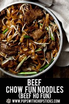 A classic Cantonese Beef Chow Fun Noodles (aka Gon Chow Ngo Ho) made with chewy flat ho fun rice noodles and tender flavourful beef slices that is simple and quick to throw together so you can enjoy this any day of the week! #chinesefood #noodles #beefnoodle #stirfrybeef #dinner #chinesetakeout #recipe #asian