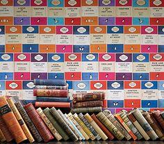 Osborne & Little. Penguin Library. Wallpaper. Books. Colourful. Vintage. Interiors. www.origin-of-style.com
