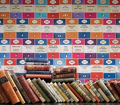 Penguin Library Wallpaper- like living in a Wes Anderson film. <3