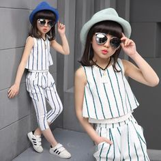 Girls clothing sets 2019 summer fashion striped vest T-shirt pants two pieces kids tracksuit children clothing set kids clothes. Little Girl Fashion, Fashion Kids, Fashion Outfits, Suit Fashion, Dresses Kids Girl, Kids Outfits, Cheap Kids Clothes, Summer Clothes, Clothes For Women
