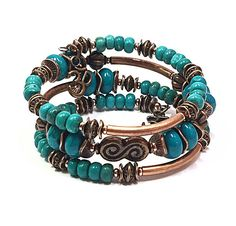 Copper and Turquoise Bracelet Ohm Bracelet Memory Wire
