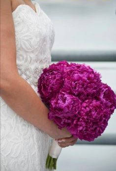 Check out this beautiful bright pink peonies brides wedding bouquet!