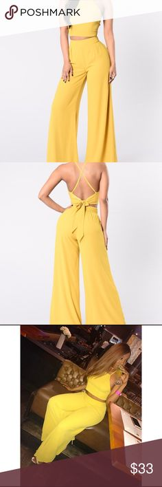 """Do You Want To Be"" Two Piece Set ""Do You Want To Be"" Two Piece Set. Mustard yellow. Woman's size Large. Only worn once. Fashion Nova Pants Wide Leg"