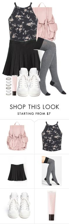 """Kira Inspired Outfit with Requested Socks"" by veterization ❤ liked on Polyvore featuring Topshop, Miss Selfridge, OROBLU, Ash, Express and Forever 21"