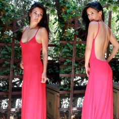 Backless Maxi Dress - RED