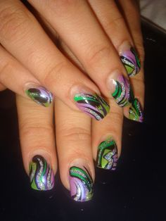 Mardi Gras nails!!