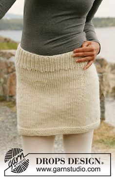 "Knitted DROPS skirt in ""Eskimo"" or ""Andes"". Size: S-XXXL. ~ DROPS Design"