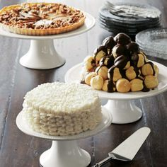 white cakes stands