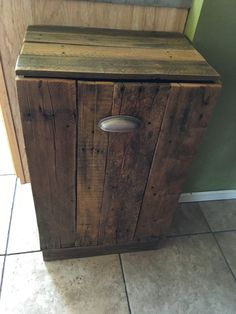 I found an old wooden trash can holder at yard sale for three dollars. It had gingerbread decor on it, torn it all off except the guts of it. Went to work with…