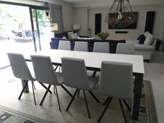 Malia dining table in ZENITH dekton top and Moka frame. Available in other sizes and configurations. CANDY dining chairs in Silver Faux leather. Delivered to our clients in Hertfordshire. Dining Chairs, Dining Table, Leather Bed, Moka, Work Surface, Sofa Design, Modern Bedroom, Contemporary Furniture, Candy