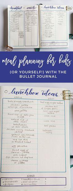 Bullet Journal Meal Planning Spread for Moms #bulletjournal #bujospread