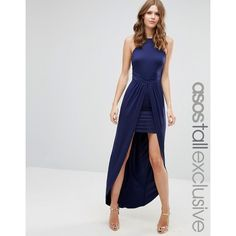 ASOS TALL Square Neck Low Back Mini Dress With Maxi Skirt Overlay ($26) ❤ liked on Polyvore featuring dresses, navy, short dresses, mini dress, navy dress, navy blue maxi skirt and low-back dresses