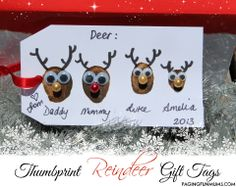 Thumbprint Reindeer Gift Tags