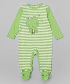 Buster Brown Green Stripe Frog Footie by Buster Brown #zulily #zulilyfinds