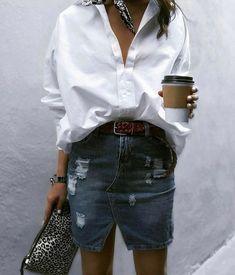 Denim skirt + white shirt