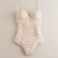 J Crew tulle underwire swimsuit. Gone are my bikini days. Hello, beautiful one-piece.