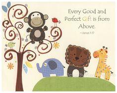 Baby room, Kids Room Decor, Nursery Art, giraffe, lion, monkey.. Safari Tree match to the colors of S.S. Noah in the Lambs and Ivy. $17.00, via Etsy.